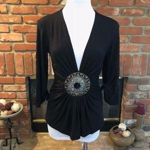 SKY Black Filigree Medallion Tie Bell Sleeves Top